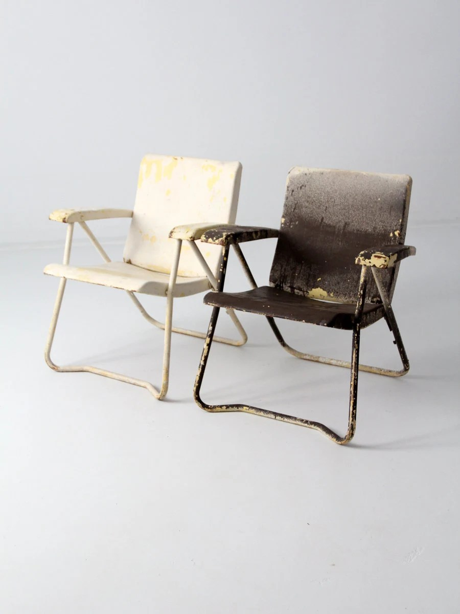 folding lawn chairs heavy duty hanging chair for bedroom cheap mid century pair 1950s metal