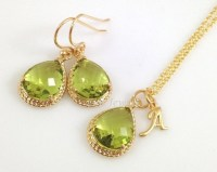 Peridot Necklace and Earrings Set Gold Fern Green