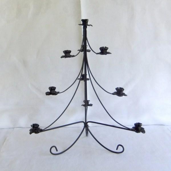 Vintage Black Wrought Iron Christmas Tree Candle Holder
