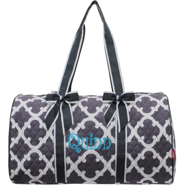 Personalized Quilted Large Quatrefoil Duffel Bag Gym