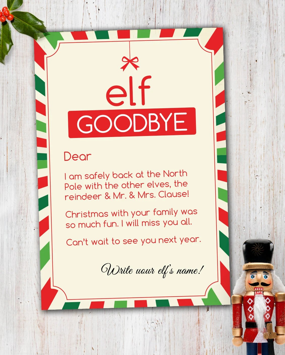 Magic Elf Goodbye Note