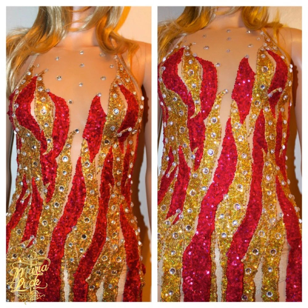 CHER replica dress fire flame red gold celebrity by marialuck