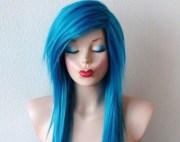 scene wig. emo hair teal blue