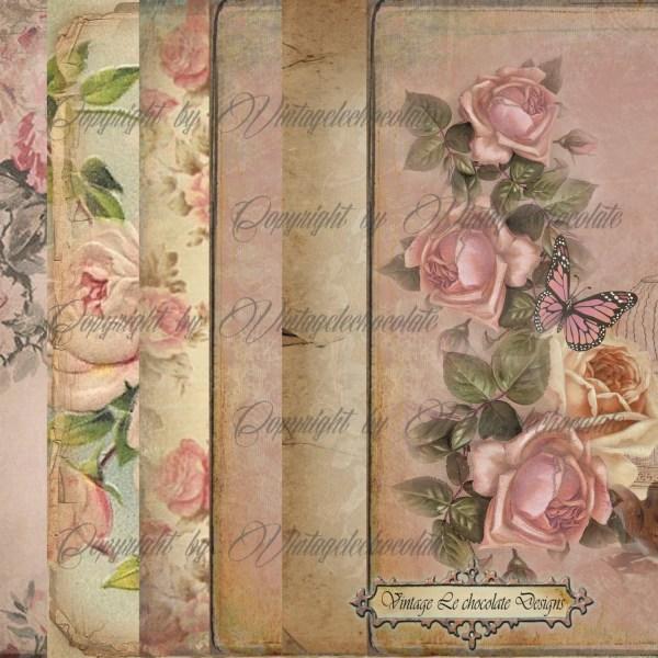 Digital Scrapbook Paper Vintage Floral Vintagelechocolate