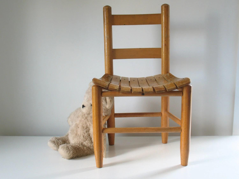 wood toddler chair bin bag chairs vintage children 39s wooden slat oak child