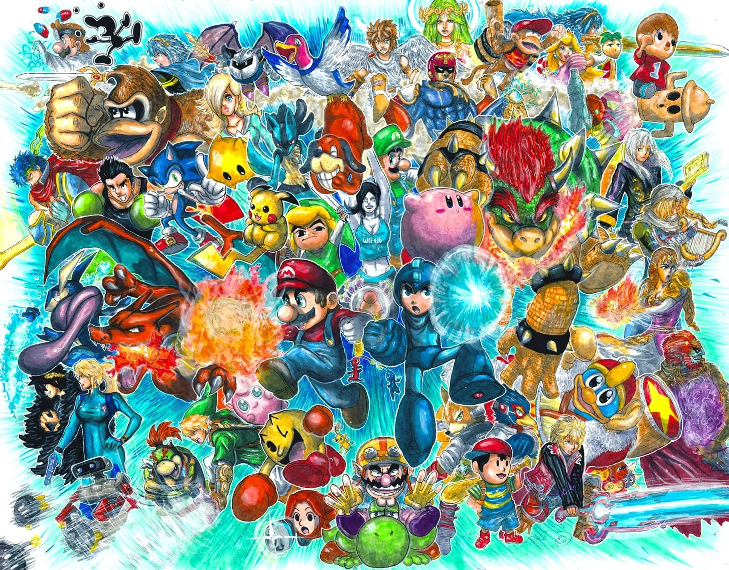 Super Smash Bros For 3DS And Wii U Giant Roster Poster