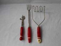 Vintage Red Handle Kitchen Utensils