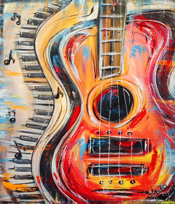Funky Abstract Colorful Guitar And Keyboard With Music