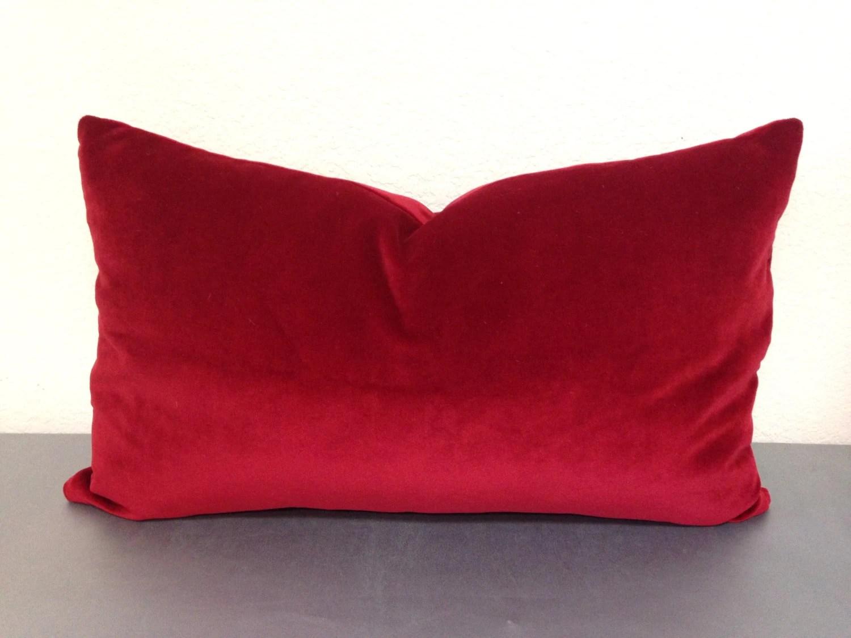 Red Velvet pillow cover Red Lumbar pillowRed by pillowpuff