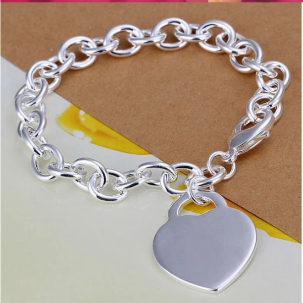 Personalized bracelet with Heart charm bracelet Engraved