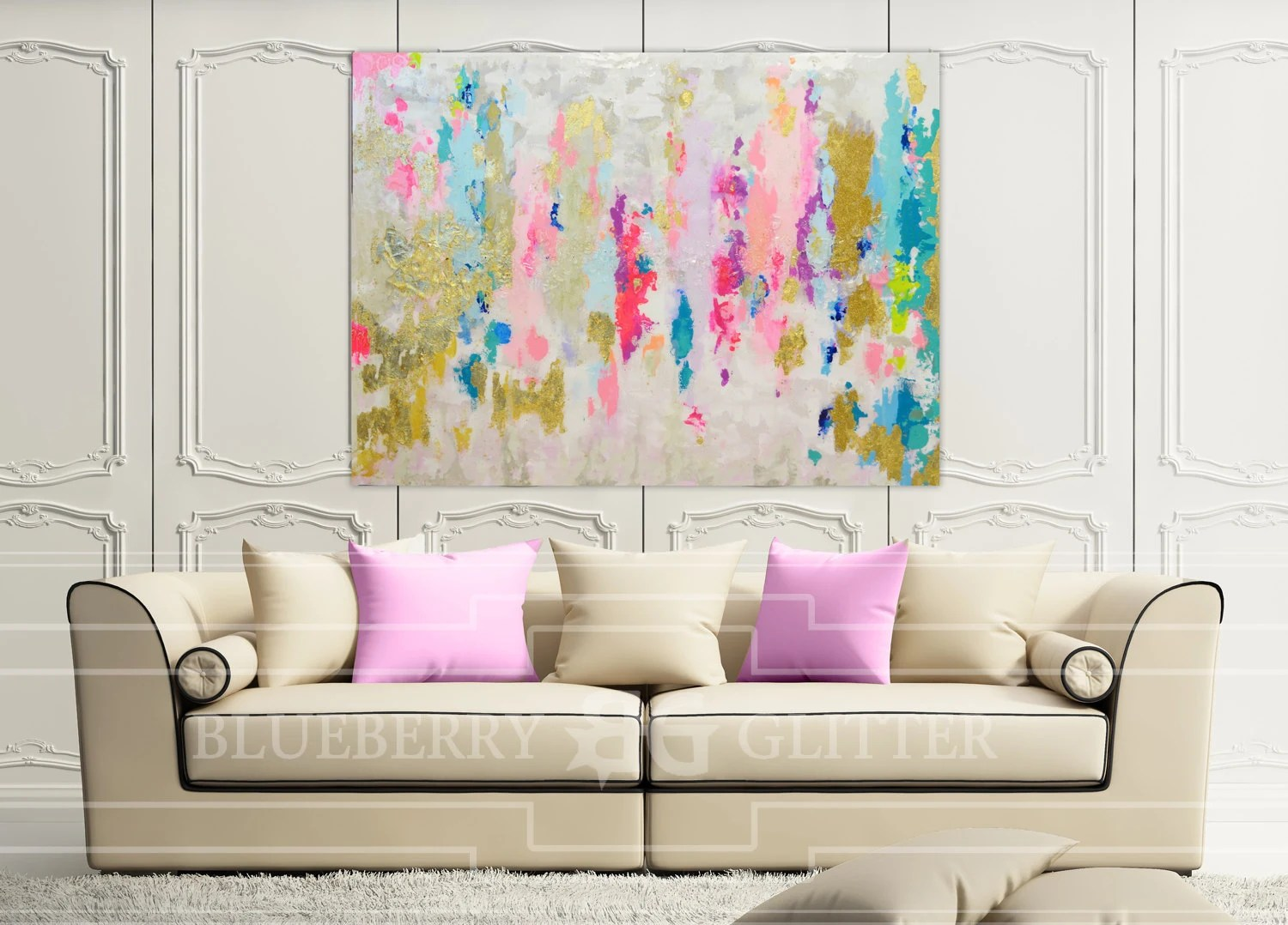 Abstract Art Large Canvas Painting Neutral Blue Pink