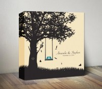 Personalized Family Name Wall Art Canvas Love Birds Wedding