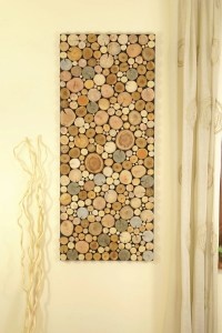 reclaimed wood art of tree rounds wall panel, Environment ...