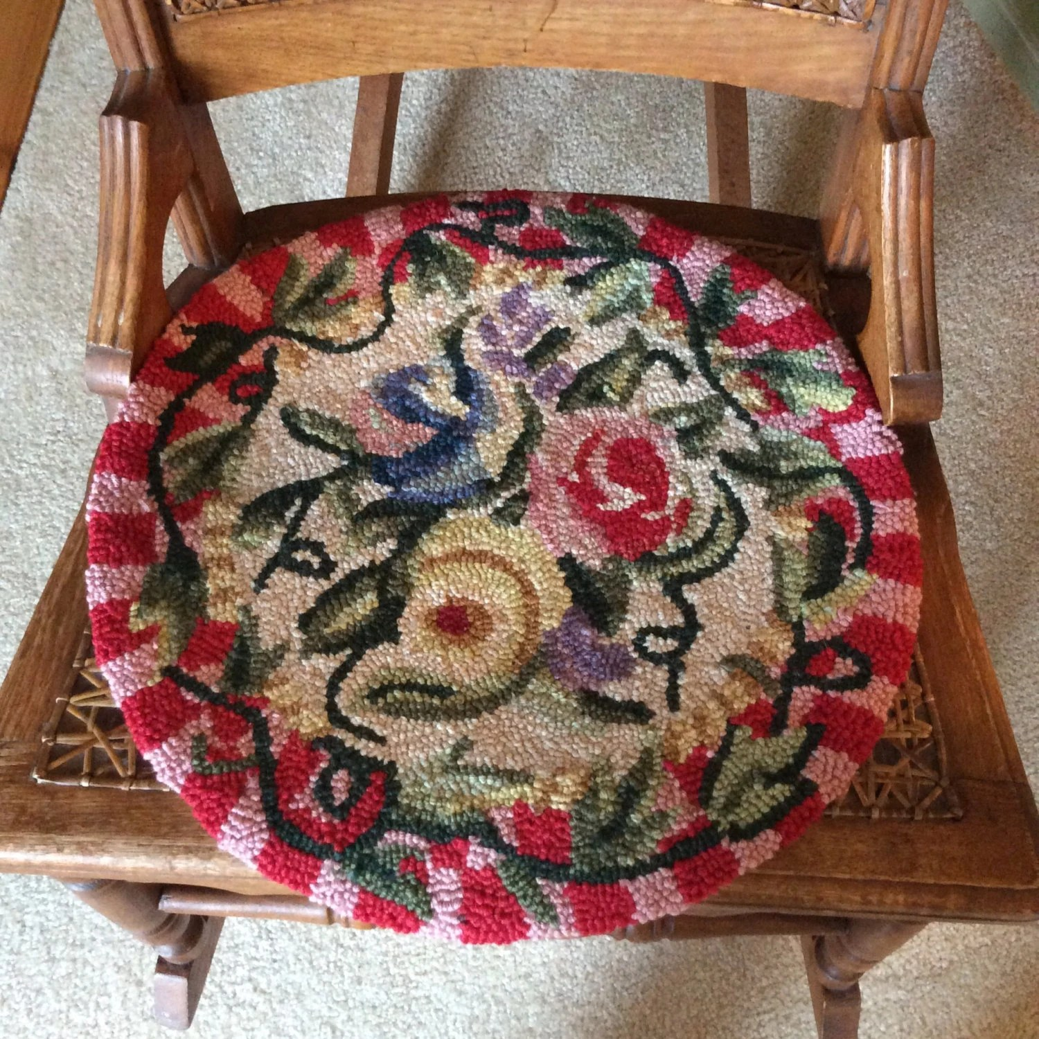 Hooked wool chair pads by MontanaSuz on Etsy