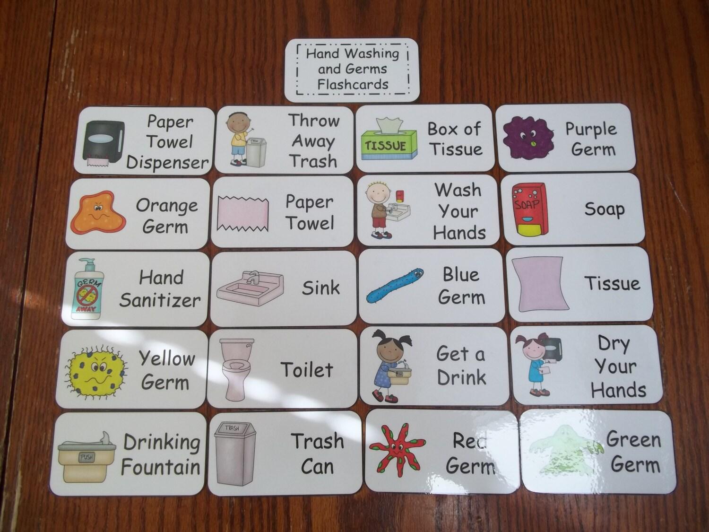 20 Hand Washing And Germs Flash Cards Preschool Thru Third