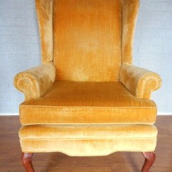 Gold Velvet Chair Patio Cushion Slipcovers Free Shipping Wing Back Arm Huge Sale