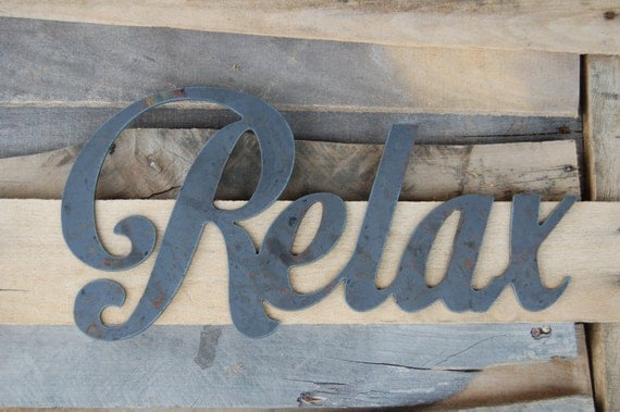 Relax Metal Sign Metal Art Bathroom Decor Outdoor by EvyAnnDesigns