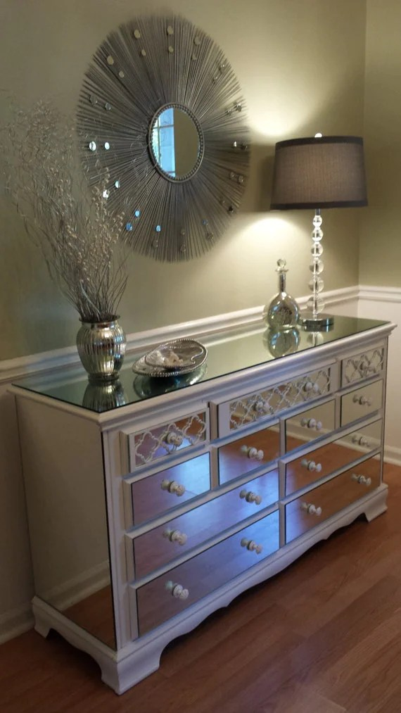 Mirrored Dresser White with Quatrefoil overlay Shabby Chic 9