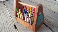 Wooden Crayon Holder Carrier with Handle Crayons Included