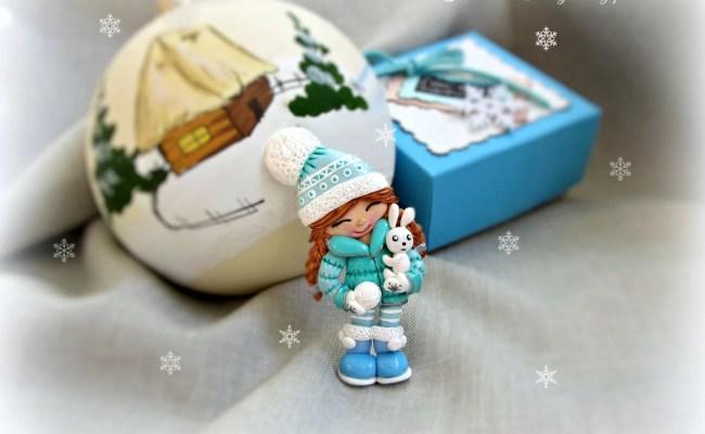 Polymer Clay Brooch Christmas Gifts Funny Girl Brooch