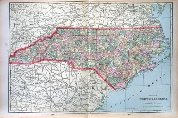 Large Map of North Carolina US State Map Large 1901