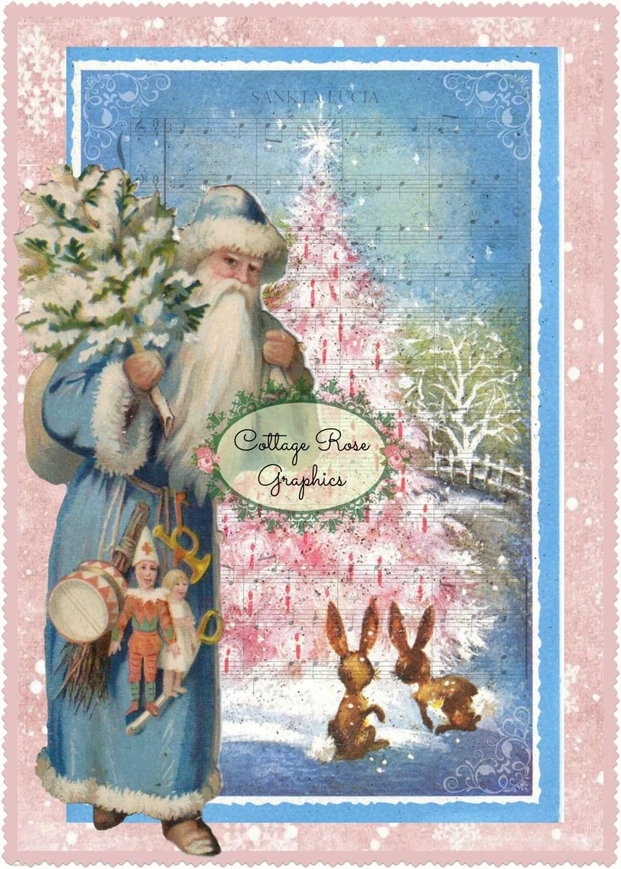 Vintage Pink Christmas Tree BLUE SWEDISH Santa Sankta Lucia