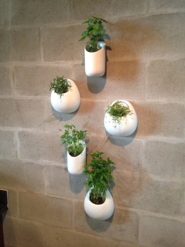 Ceramic Wall Planters Set Five White Pocket Sewzinski