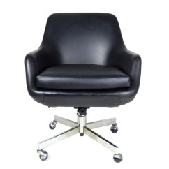 Mid Century Modern Desk Chair Dining Wingback Reserved Office Black Chrome