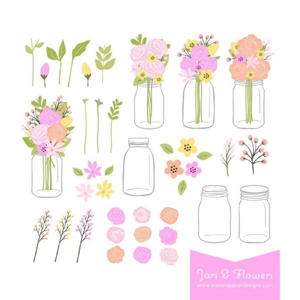 mason jar bouquet clip art flower