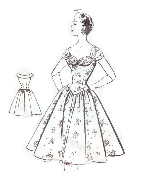 Sweetheart Neckline 1950s Full Skirt Sewing Pattern Fashion