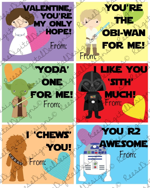 Printable Valentine S Day Cards Star Wars By Reesedigitaldesigns