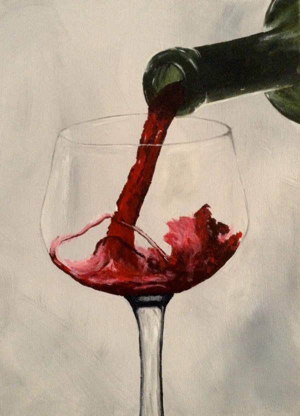Red Wine Painting Acrylic Canvas Pouring