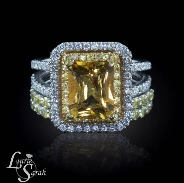 Engagement Ring Radiant Cut Citrine Withyellow