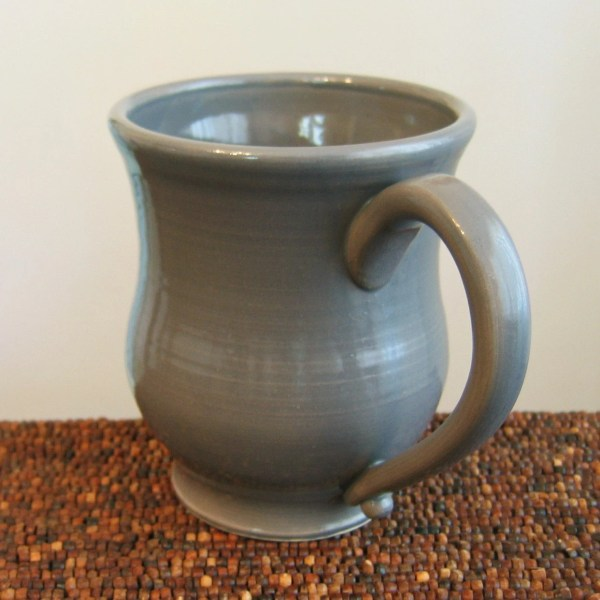 Large Coffee Mug 16 oz Pottery Mug in Elephant Gray