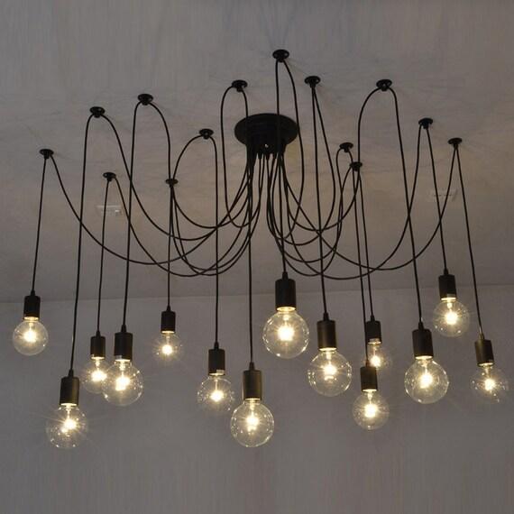 14 Swag Chandelier BLACK Modern lighting Industrial Hanging Pendants Rustic Lighting Ceiling Fixture Loft Bar Restaurant