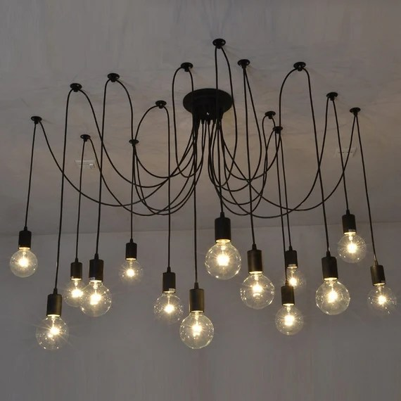 14 Swag Chandelier BLACK Modern lighting Industrial Hanging Pendants Rustic Lighting Ceiling Fixture Loft Bar Restaurant