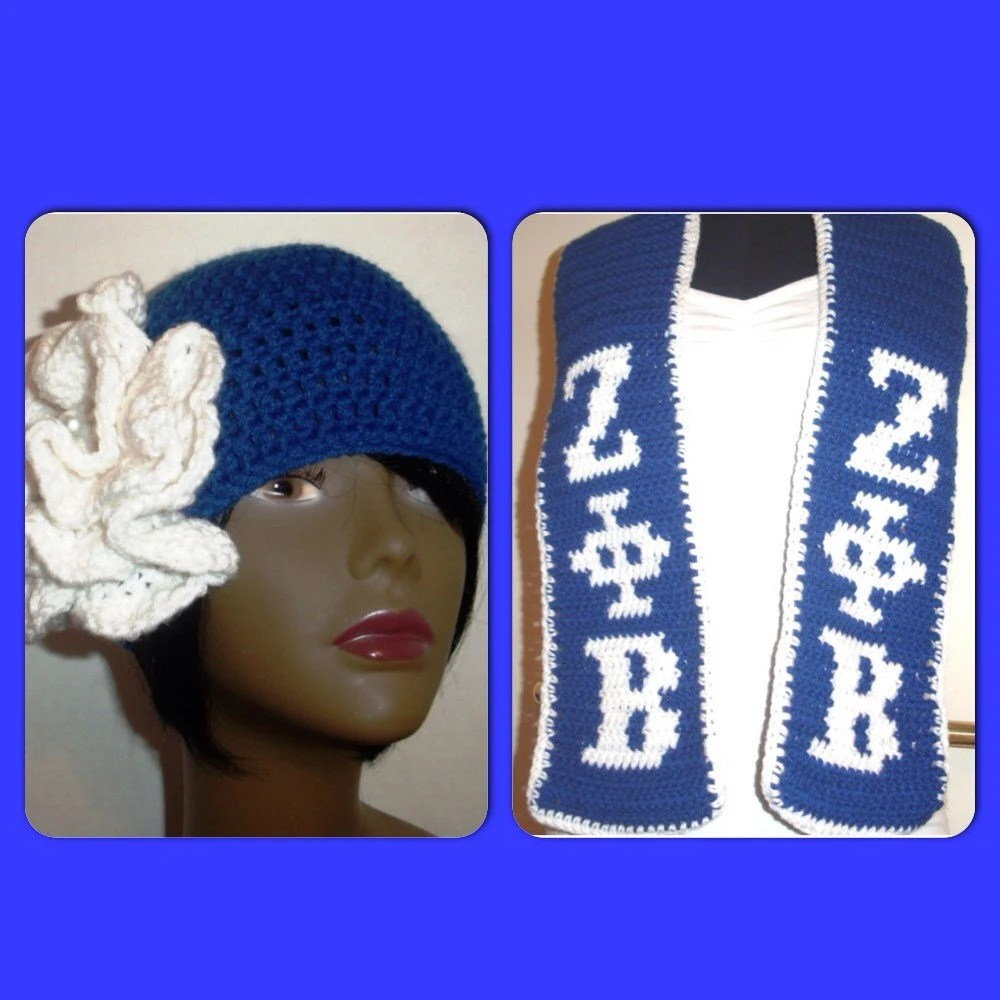 Zeta Phi Beta Hat And Scarf Set Royal Blue And White