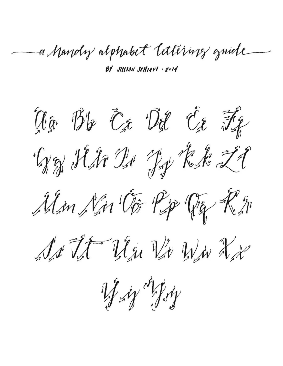 Hand Lettering Alphabet Guide Traceable Download by jillyink