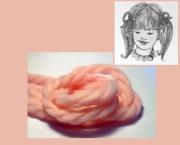 light pink 70s yarn hair ribbons