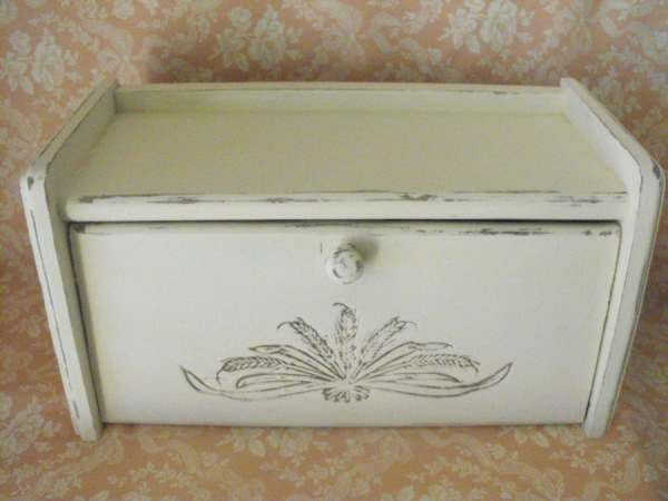 Shabby Chic Bread Box Storage White Upcycled Distressed
