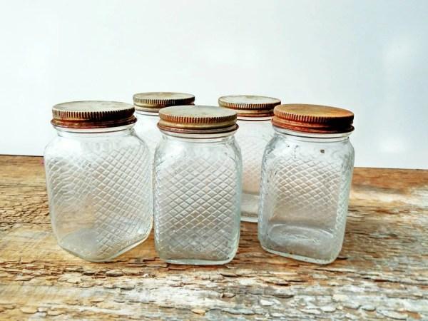 Vintage Spice Jars With Metal Lids Thevintageshopkeeper