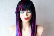 black pink purple blue wig. straight