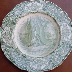 Kitchen Table With Leaf Insert Pull Out Faucet Antique Crown Ducal Dinner Plate Green Transferware
