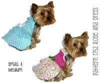 Rose Ana Dog Dress Pattern 1752 Small & Medium Dog Clothes