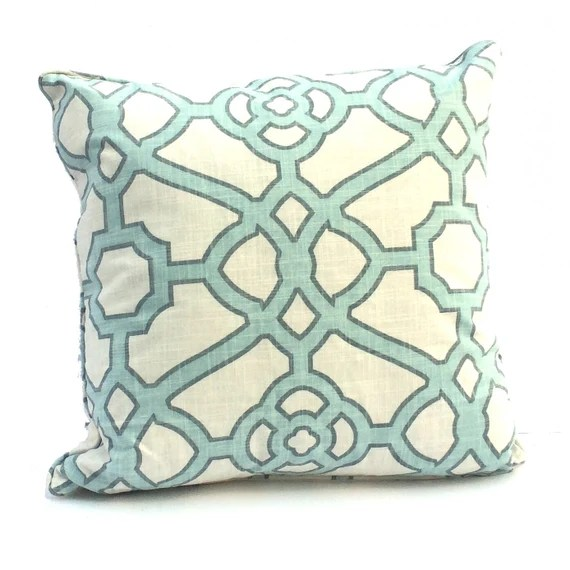 "Decorative PIllow Cover – Aqua  & Ivory Trellis pattern - 20"" Pillow Case -Hidden Zipper Closure -Cushion Cover- Toss Pillows - Pillow Case"