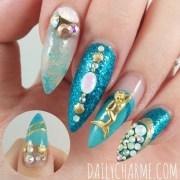 2 pcs gold mermaid 3d nail art
