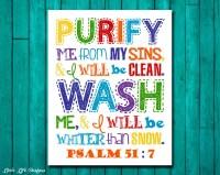 Psalm 51:7. Kids Bathroom Wall Art. Christian Decor. Christian