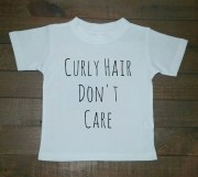 curly hair don't care t-shirt kids