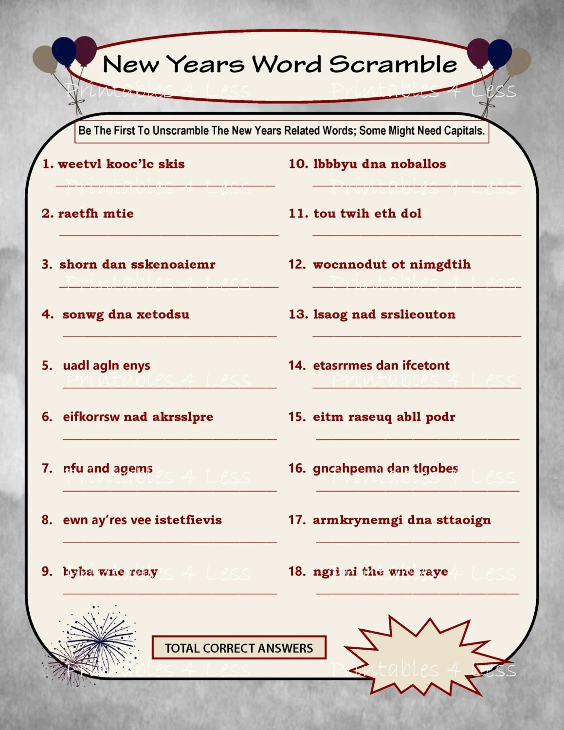 New Year Word Scramble Diy Printable Word Scramble