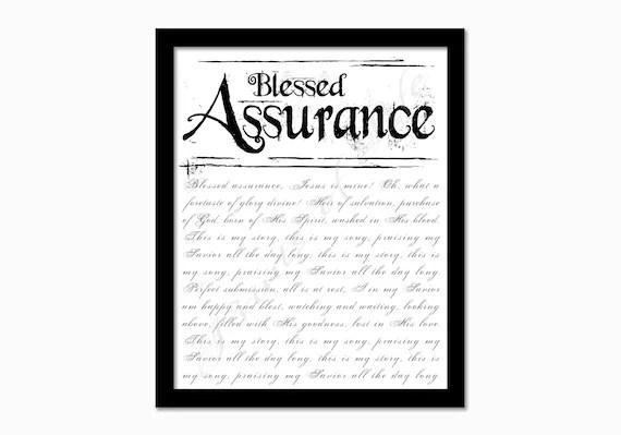 Christian artwork. Blessed Assurance. Hymn wall art print.
